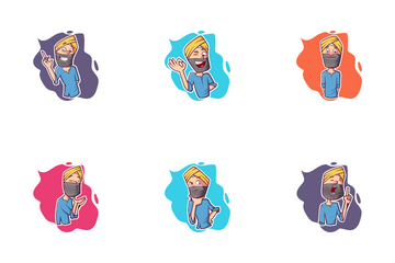 Punjabi Man Sticker Icon Pack
