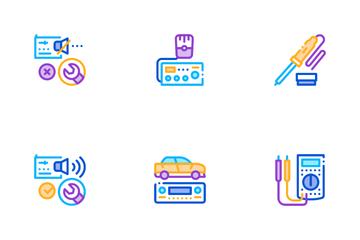 Radio Repair Service Icon Pack