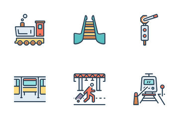 Railway Station Icon Pack
