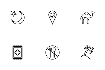 Ramadan And Eid Line  Icon Pack
