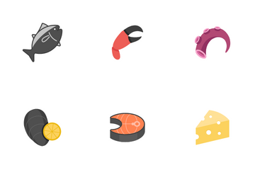 Raw Food And Ingredient Icon Pack