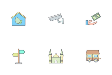 Real Estate Fill Outline Icon Pack