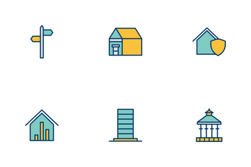 Real Estate Filled Two Color Icon Pack
