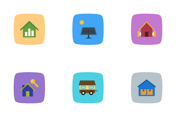 Real Estate Flat Curve BG  Icon Pack