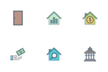 Real Estate Flat Outline Icon Pack