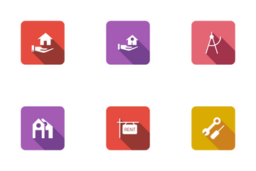 Real Estate Flat Square Rounded Shadow Set 1 Icon Pack