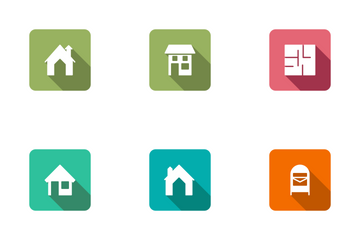 Real Estate Flat Square Rounded Shadow Set 2 Icon Pack