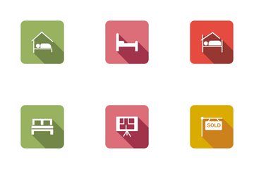 Real Estate Flat Square Rounded Shadow Set 3 Icon Pack