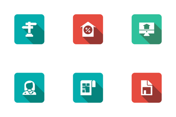 Real Estate Flat Square Rounded Shadow Set 4 Icon Pack