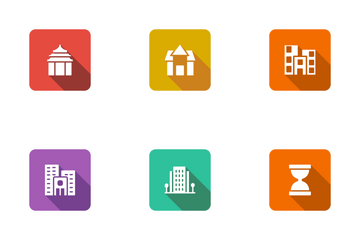 Real Estate Flat Square Rounded Shadow Set 5 Icon Pack