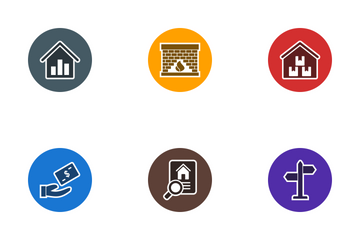 Real Estate Glyph Circle Icon Pack
