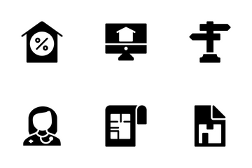 Real Estate Glyphs Icons Set 4 Icon Pack