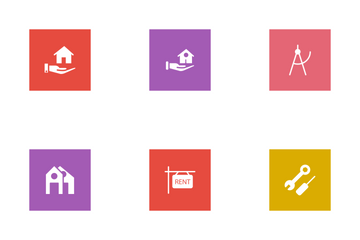 Real Estate Glyphs Square Icon Pack