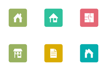 Real Estate Glyphs Square Rounded Icon Pack