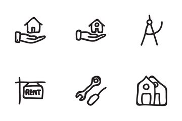 Real Estate Hand Drawn Set 1 Icon Pack