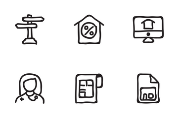 Real Estate Hand Drawn Set 4 Icon Pack