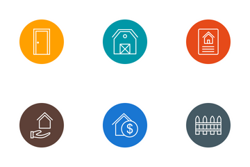 Real Estate Line Circle Icon Pack