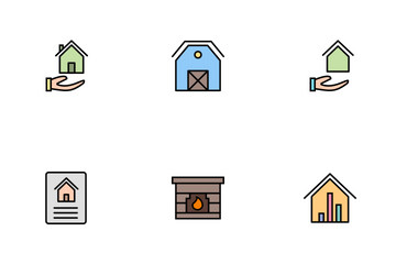 Real Estate Line Filled Icon Pack