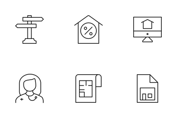 Real Estate Line Set 4 Icon Pack