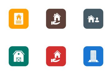 Real Estate Round Corner Glyph Icon Pack