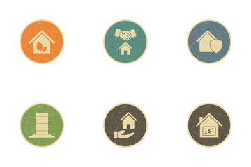 Real Estate Vintage Icon Pack