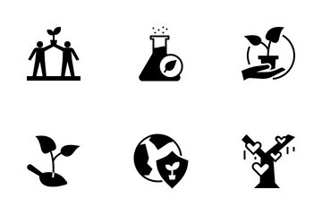 Renewable Energy And Environmental Sustainability Glyph Icon Pack