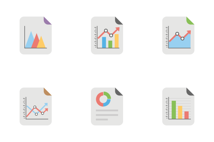 premium reports and charts flat icons 2 icon pack download