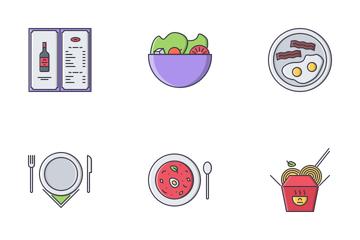 Restaurant Filled Outline Icon Pack