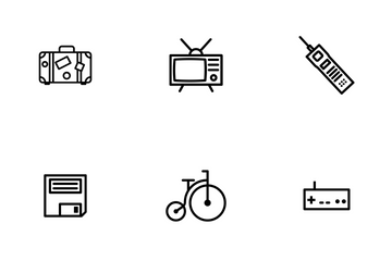 Retro Objects - Outline Icon Pack