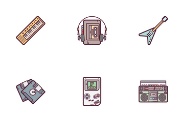 Retro Wave Color Icon Pack