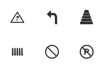 Road Sign Glyph Icon Pack