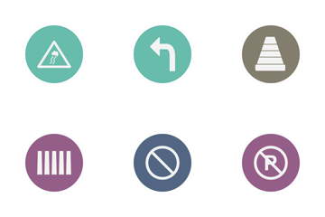 Road Sign Glyph Circle Icon Pack