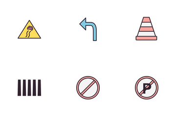Road Sign Line Fill Icon Pack