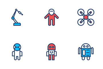 Robot Line Color Icons Icon Pack