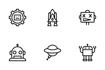 Robot Line Icons Icon Pack