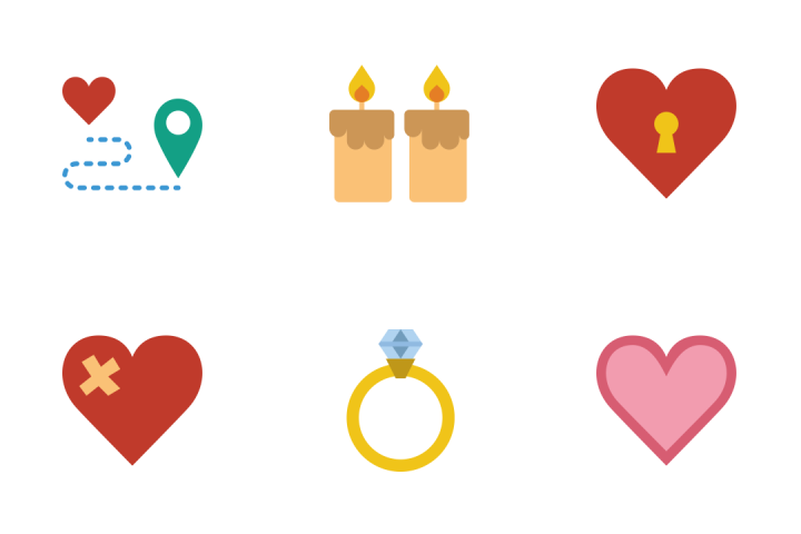 Romance And Lifestyle - Flat Icon Pack