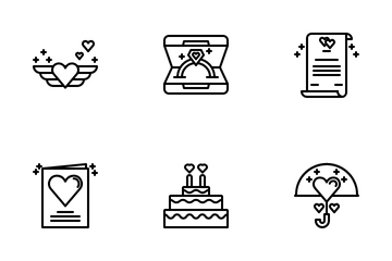 Romance Outline Icon Pack