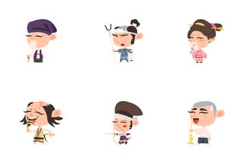 Samurai Characters Icon Pack