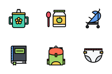 School & Childhood Colored Icon Pack