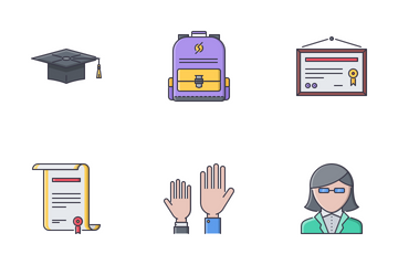School Filled Outline Icon Pack