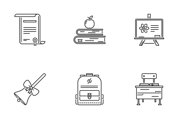 School  Outline Icon Pack
