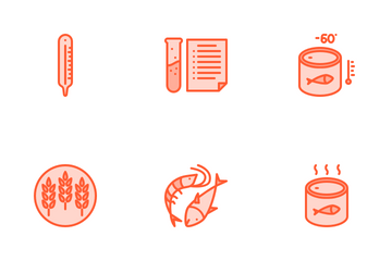 Seafood Product Packaging Icon Pack