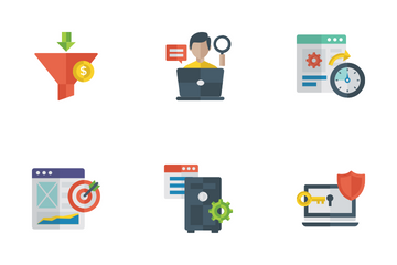 Search Engine Optimization Flat Icons Icon Pack