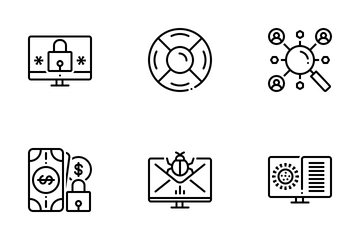 Security & Antivirus 2 Line Icon Pack