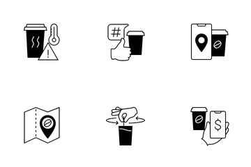 Self-service Coffee Kiosk Icon Pack