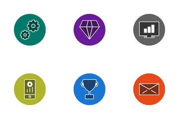 Seo Glyph Circle Icon Pack