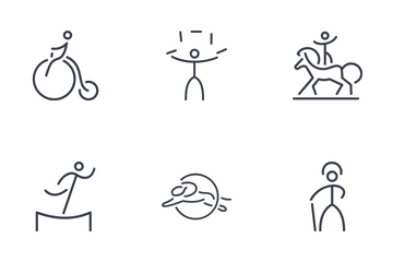 Set Of Circus Thinline Icons Icon Pack