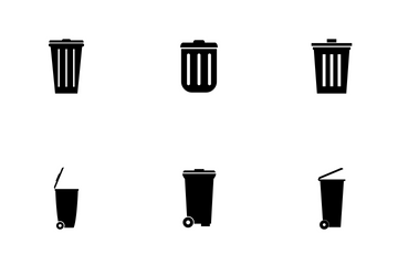Set Of Trash Bin Icon Pack