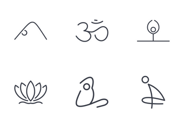 Set Of Yoga Thinline Icons Icon Pack
