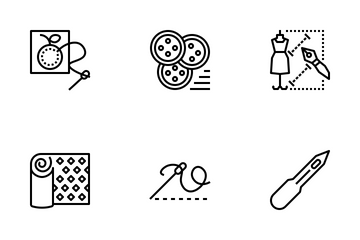 Sewing Tools,  Accessories And Needlework. Icon Pack